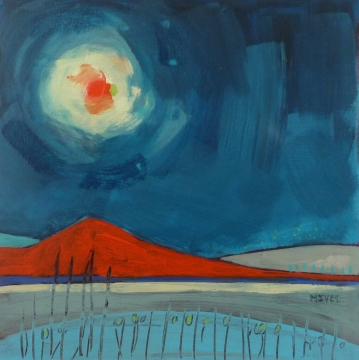 """RED MOON"" 20cm x 20cm £195"
